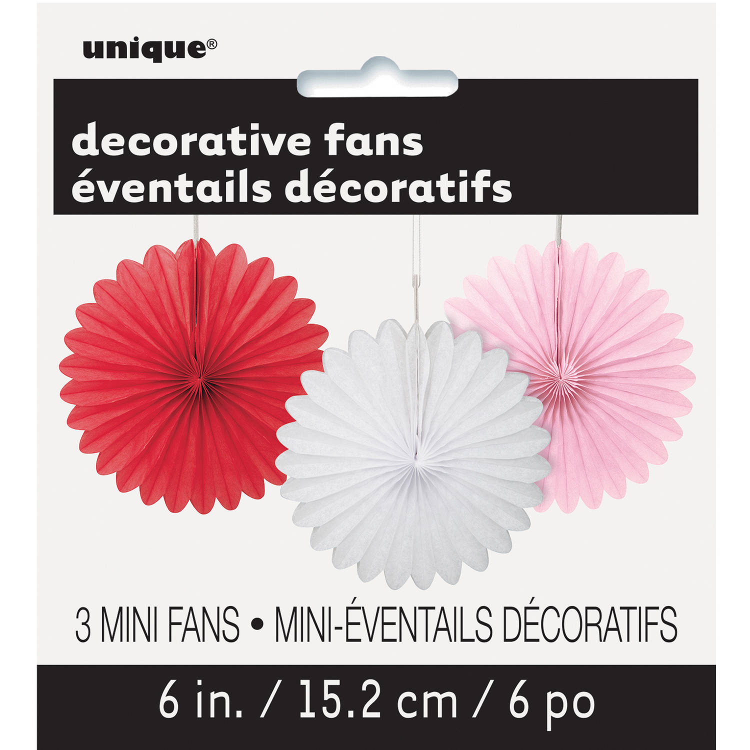 "6"" Mini White, Red, and Pink Tissue Paper Fan Decorations, 3pk"