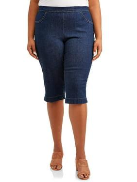 Just My Size Women's Plus Size 2 pocket Pull on Capri Pant