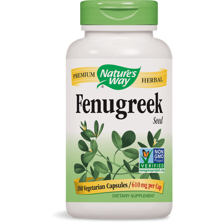 Natures Way Fenugreek Seed Non-GMO Project Verified TRU-ID Certified Vegetarian 180 (Best Way Pomegranate Seed Removal)