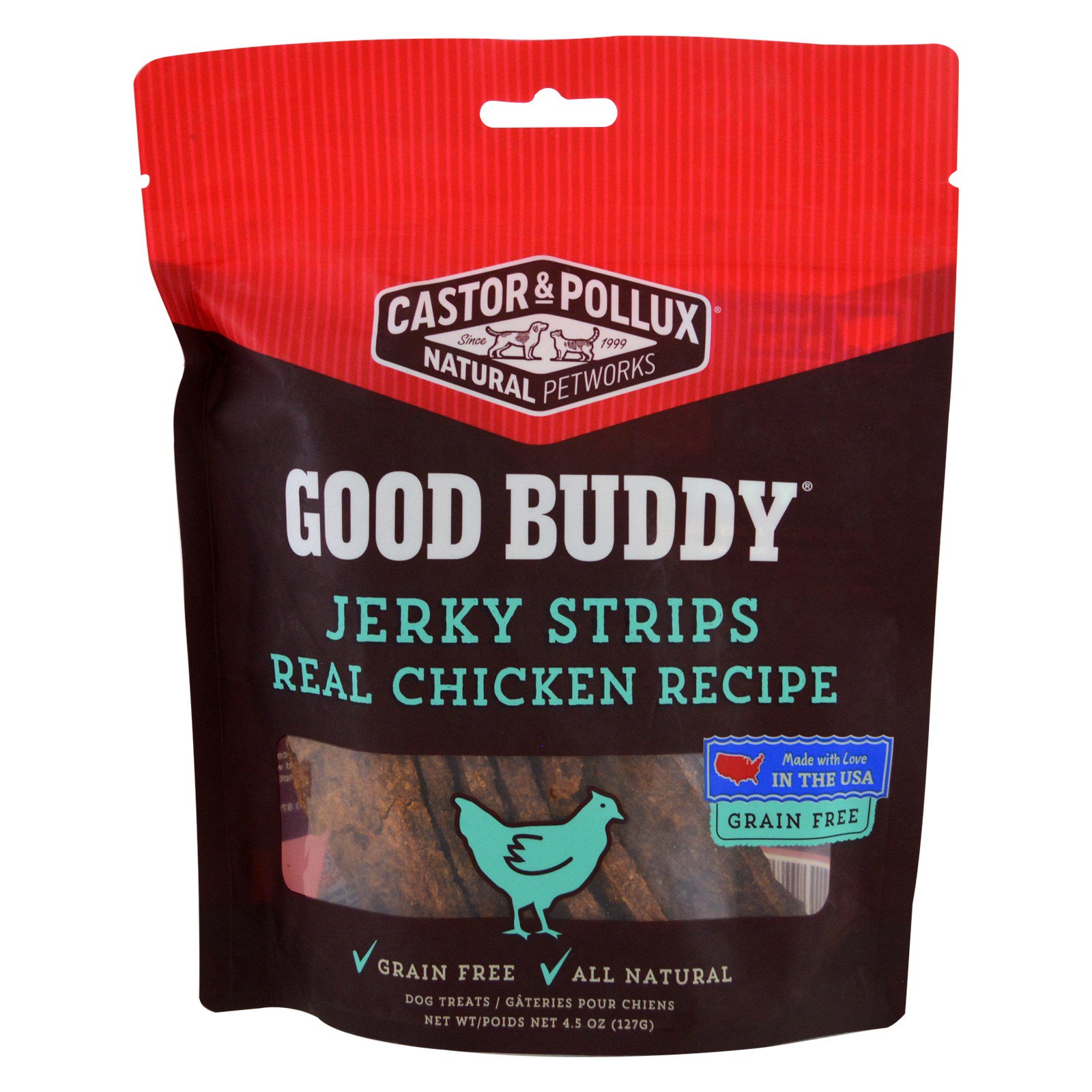 Castor & Pollux, Good Buddy, Jerky Strips, Real Chicken Recipe, 4.5 oz(pack of 2)