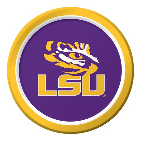 """8 Pack NCAA Louisiana State Unversity  Round Tailgate Party Paper Dinner Plates 8.75"""""""