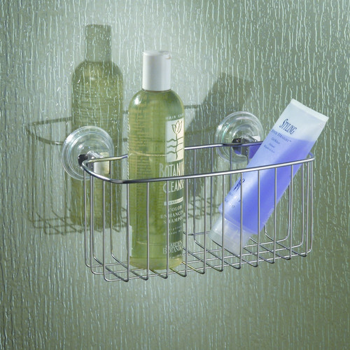 InterDesign Reo Power Lock Suction Bathroom Shower Caddy Basket for Shampoo, Conditioner, Soap, Stainless Steel