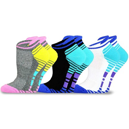 Teehee Women Cotton Cushioned Low Cut With Tap Socks 3 Pack  Blue Pink
