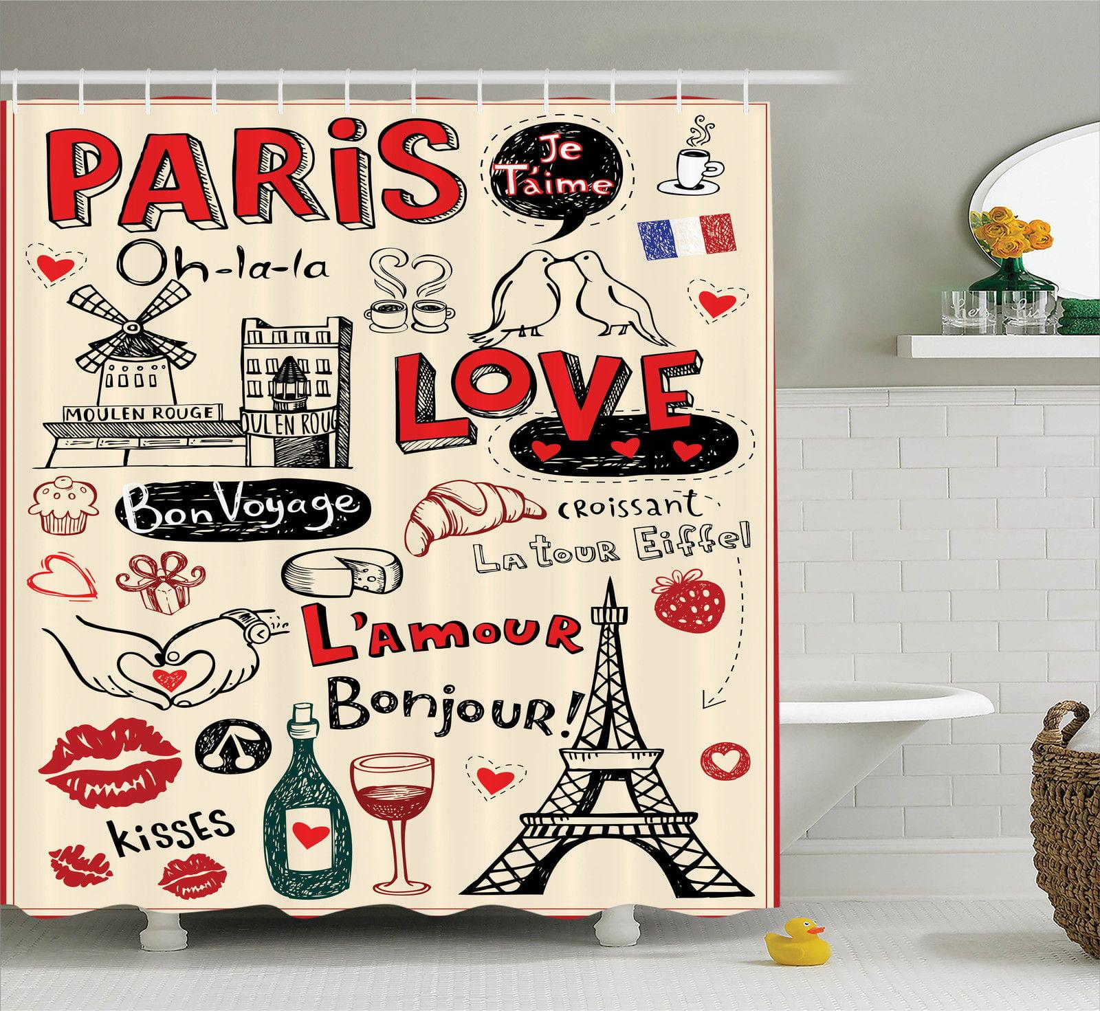 Paris City Decor  Paris Love Doodles Coffee Wine Glass Cr...
