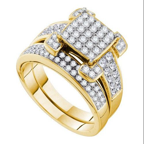 1.01Ct Diamond Invisible Bridal Set Womens Fixed Ring Size - 7