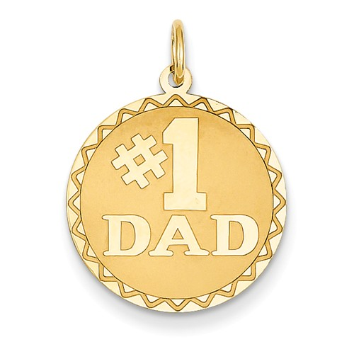 14k Yellow Gold Engravable #1 Dad Pendant