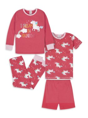 Gerber Baby Girls & Toddler Girls Snug Fit Cotton Mix 'n Match Pajamas, 4-Piece PJ Set (12M-5T)