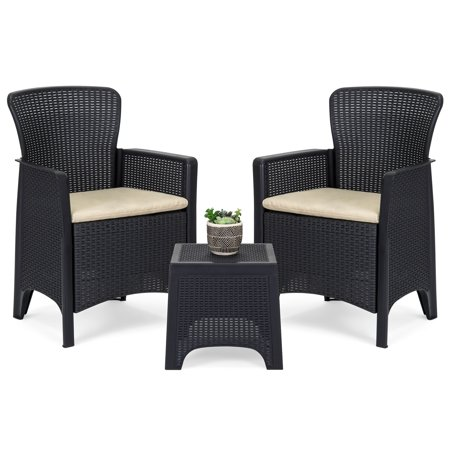 Best Choice Products 3-Piece Weather Resistant Patio Bistro Conversation Furniture Set w/ Side Table, 2 Armchairs (Black Wicker Outdoor Furniture)