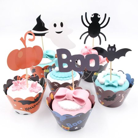 12pcs Halloween Bat Pumpkin Spider HatCard Cake Decoration Party Cake Decoration (Bat Pumpkin Halloween)