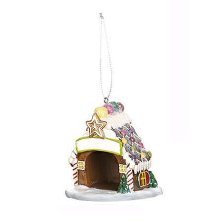 Santa's Furry Friends Doghouse Ornament: Gingerbread - By