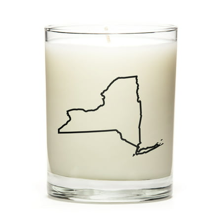 Custom Gift with the Map Outline of New-York - U.S State! Make your Gift Special with our Premium Custom Candles, Soy Wax, Low Smoke, Even Burn, Luna Candle Co. - Peach Bellini - Custom Candles
