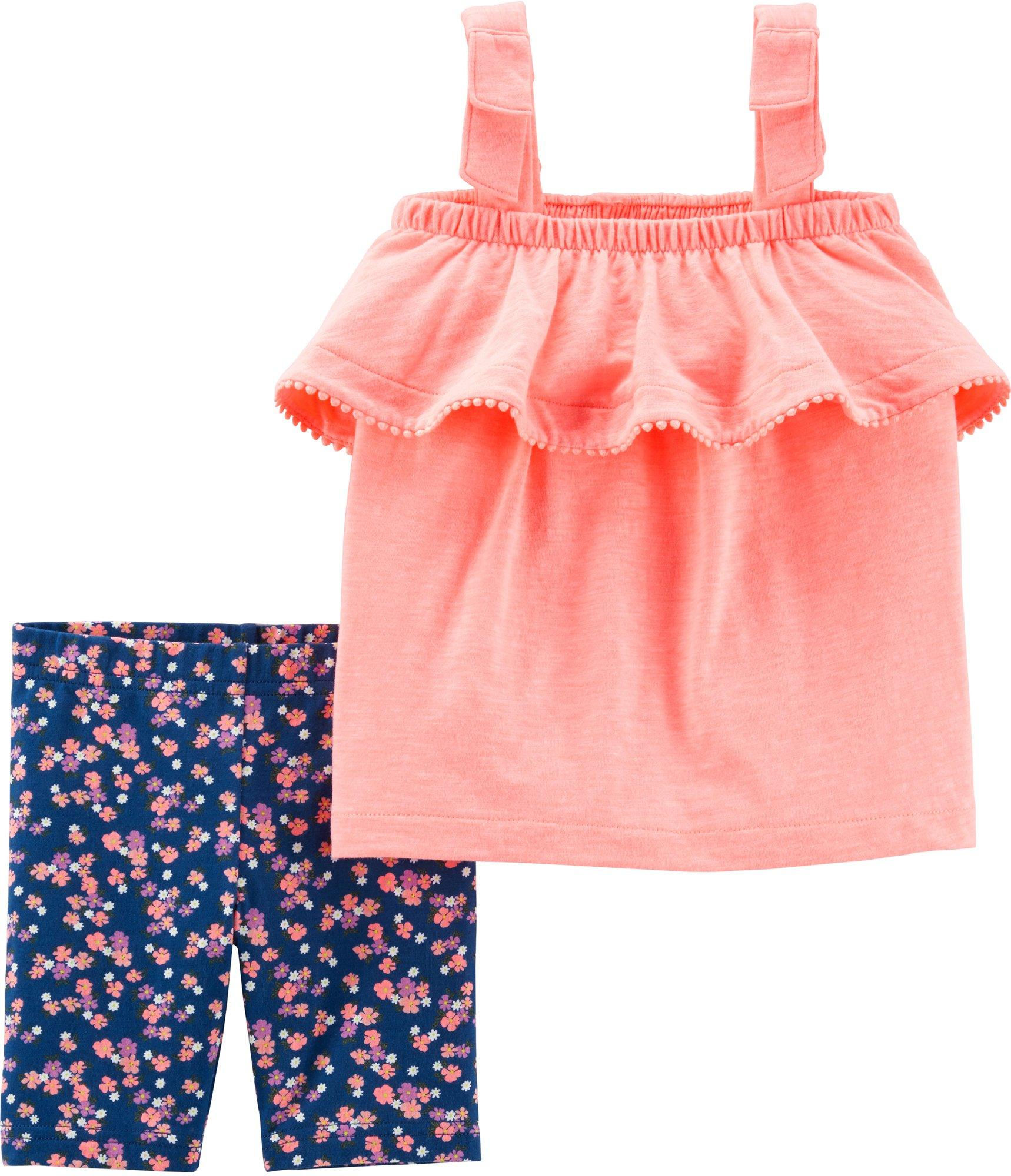 Carters Girls 2T-8 Flutter Sleeve Tank With Printed Joggers Set