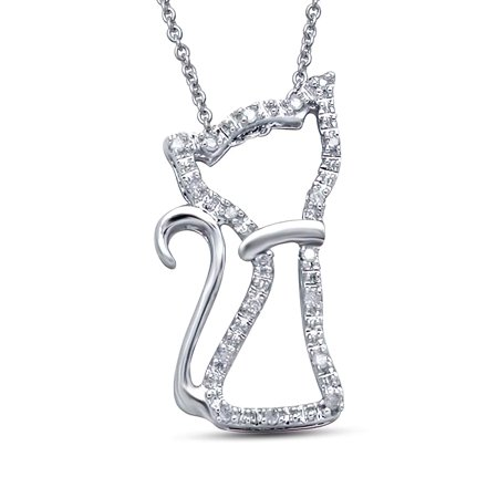 """Cute Kitty Charm Cat Pendant Necklace Sterling Silver Real Diamond Accent, 18"""" Rolo Chain, Best Friend Gift for Her, For Teenage daughter, Wife & Mom, Handcrafted Jewelry for Women & Girls"""