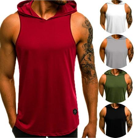 Casual XXL Men Summer Cotton Shirt Sweatshirt Sports Gym Plain Vest Hoodie Sleeveless Tank Top Fitness (Sleeveless Hoodie Gym)