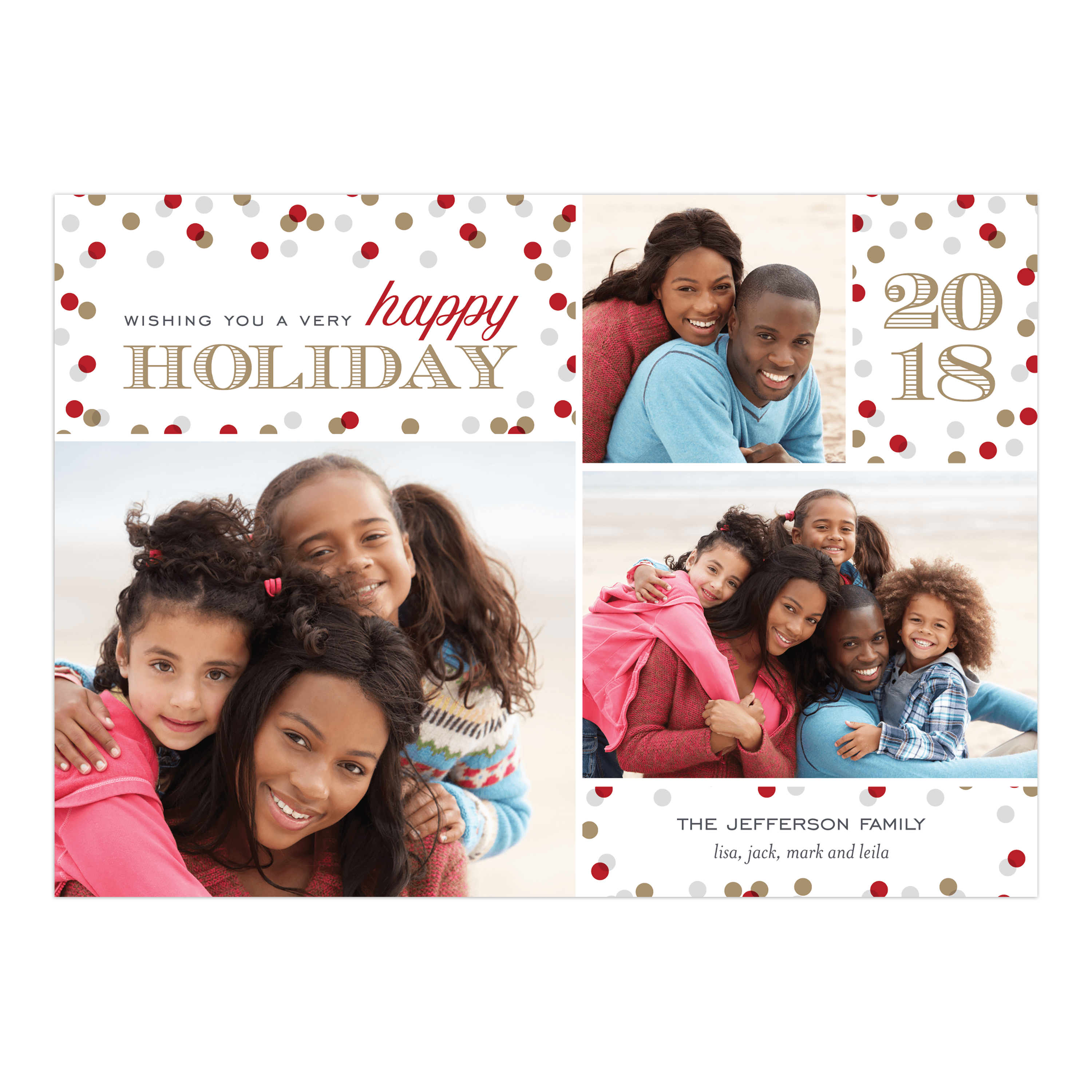 Confetti Holiday - 5x7 Personalized Holiday Card