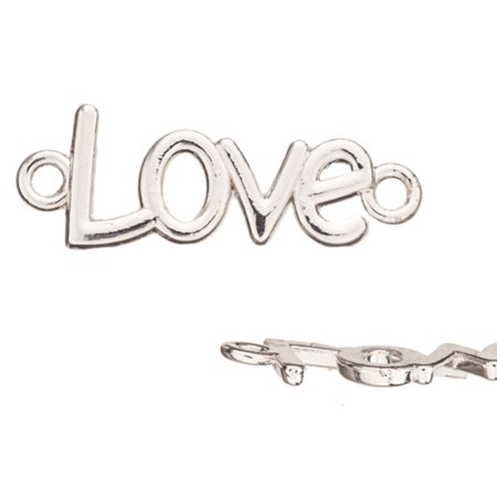 Love Bubble Letters Silver Plated Links 36x13mm pack of 6 (3-Pack Value Bundle), SAVE - Letter Links
