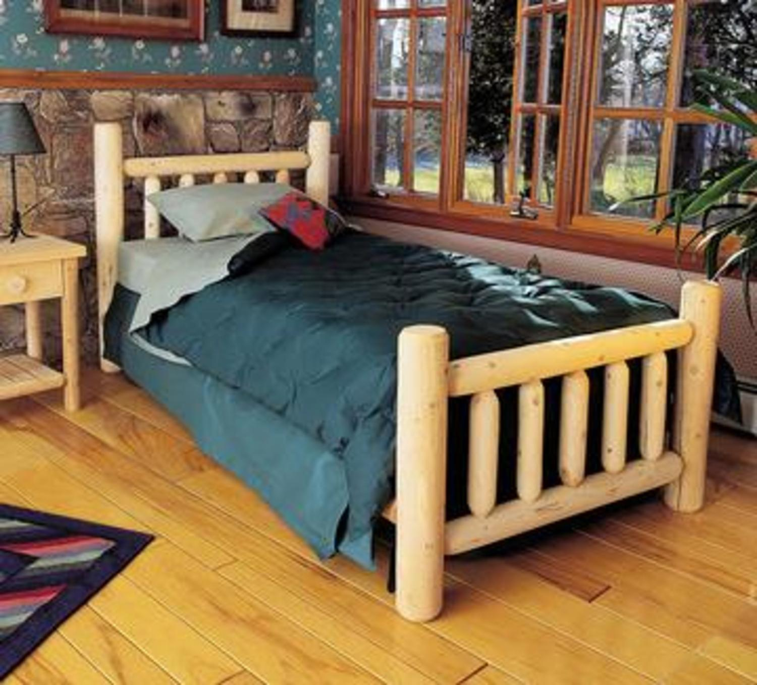 """76"""" Cedar Log-Style Handcrafted Wooden Twin Bed Frame"""