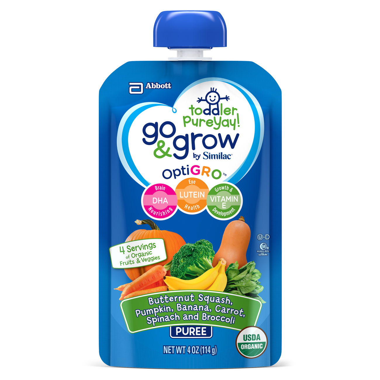 Go & Grow by Similac Fruit and Veggie Pouches with OptiGRO™, Butternut Squash, Pumpkin, Banana, Carrot, Spinach, Broccoli Puree, For Toddlers, Organic Baby Food, 4 ounces