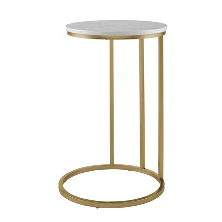 Manor Park Faux Marble and Metal Round C-Table - White Marble / Gold ()