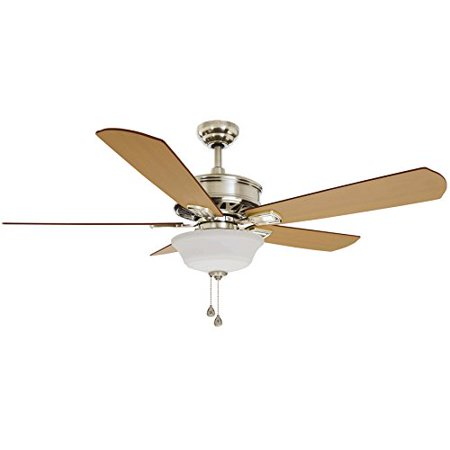Harbor Breeze Easy Breeze 54-in Brushed nickel Integrated LED Indoor Downrod Or Close Mount Ceiling Fan with Light