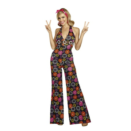 Dreamgirl Women's Groovy Baby! 60's Themed Costume Jumpsuit (Hawaiian Theme Costumes)