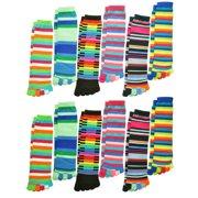 12-Pairs Mix-N-Match Striped Variety Toe Socks