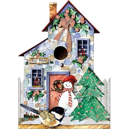 LPG Greetings Holly House Die Cut with Glitter Carolyn Shores Wright Christmas Card - Die Cut Cards