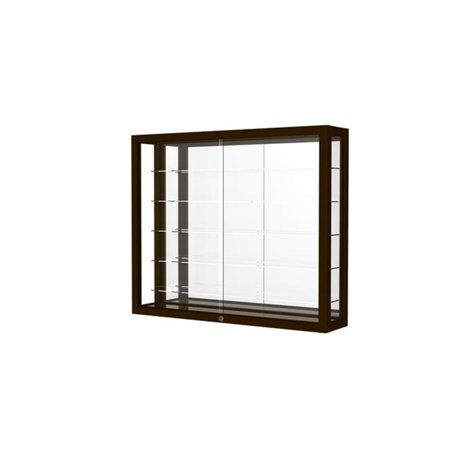 Waddell 8903M-MB-W Heirloom 36 x 30 x 8 in. Wall Case Hardwood with 5 Shelves, Mirror Back - Danish Walnut