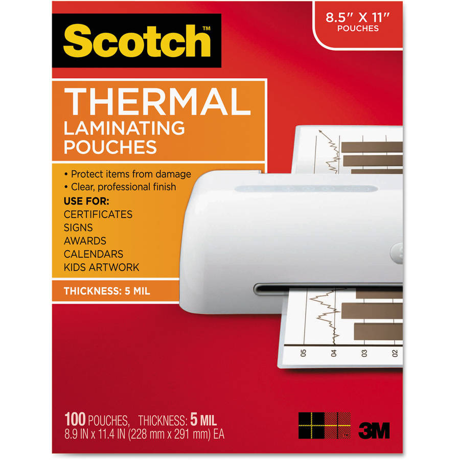 "Scotch Letter Size Thermal Laminating Pouches, 5 mil, 11-1/2"" x 9"", 100pk"