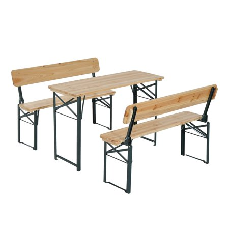 Outsunny 4' Wooden Outdoor Folding Portable Picnic/Lunch Table Set with Benches Perfect for Travel, Backyard, or Camping Wooden Picnic Tables Benches