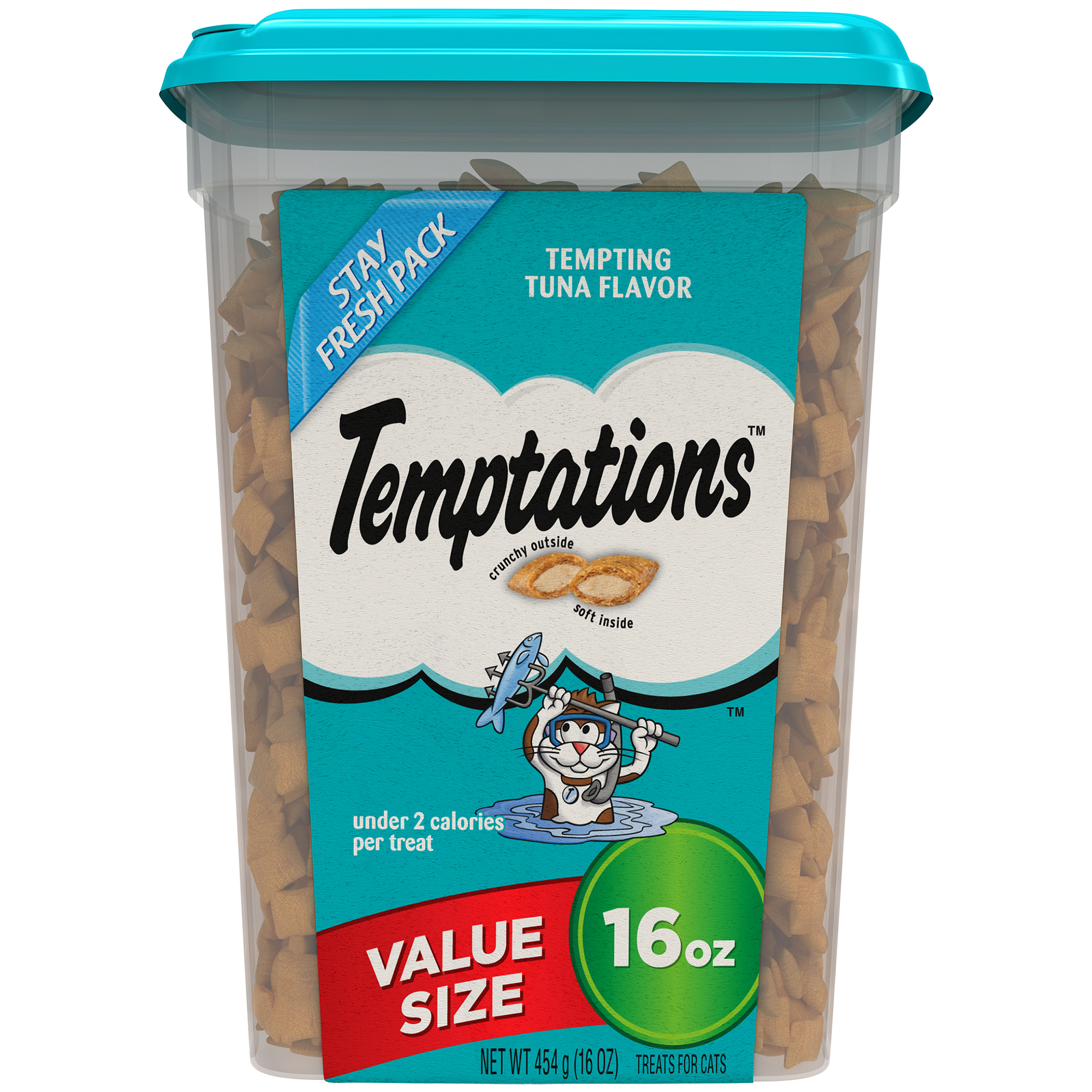 TEMPTATIONS Classic Cat Treats Tempting Tuna Flavor, 16 oz. Tub