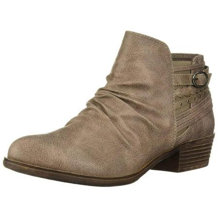Sugar Tali Women's Casual Trendy Low Heel Scrunch Ankle Bootie, Brown, Size (Suede Scrunch Boot)