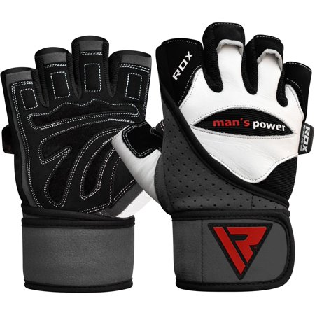 RDX Weight Lifting Gloves, White/Black, Large