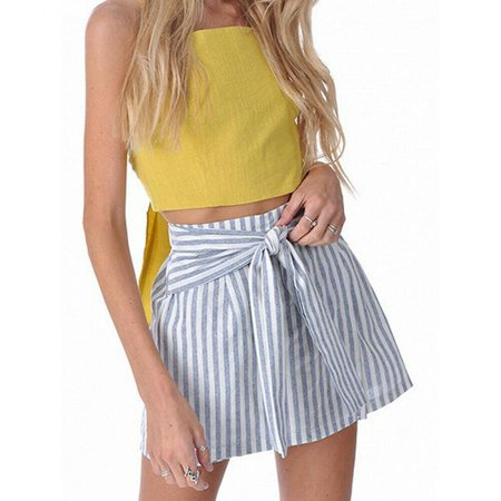 New Women Girls Skater Skirt Pleated Flared A Line Circle Elastic Stretch -