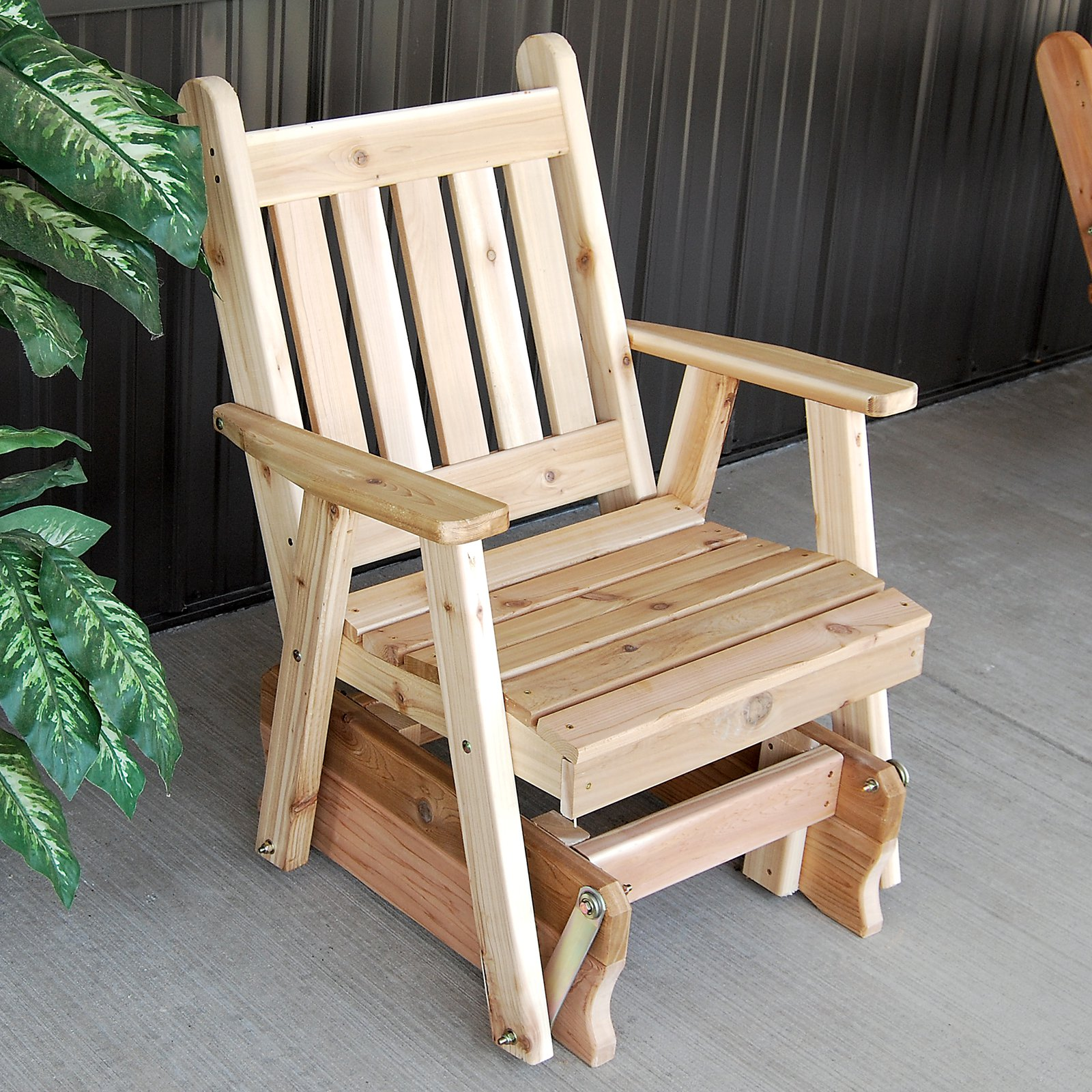 A & L Furniture Western Red Cedar Traditional English 2 ft. Outdoor Glider Chair