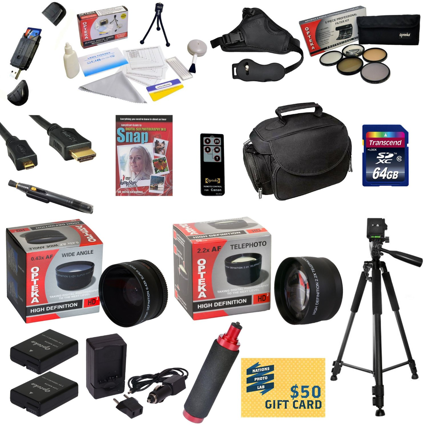 Ultimate Kit for Nikon D50, D70, D80, D90 with 64GB SDXC Card, 2 Batteries, Charger, 0.43x & 2.2x Lens, 5 PC Filter Kit, HDMI, Case, Tripod, Handgrip, Lens Pen, Cleaning Kit, DVD, $50 Gift Card, More