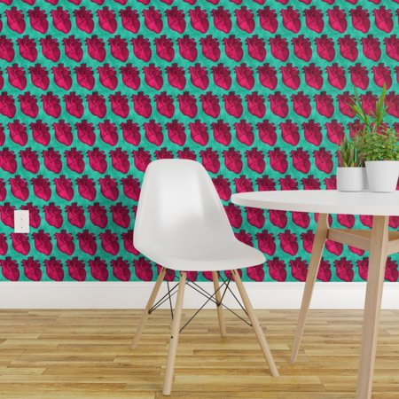 Removable Water Activated Wallpaper Anatomical Hearts Pink Green Medical Science