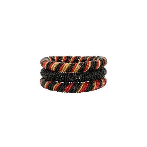 Gifts with Humanity KJM001-RdBk-212025 Red and Black 3-piece Massai Bangle Set