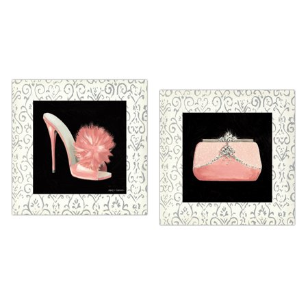 Sports Posted Heel - Popular Coral Pink, White and Black Fashionista Heels and Clutch Set by Marco Fabiano; Two 12x12in Unframed Paper Posters (Border Part Of Print)