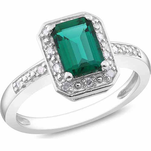 7/8 Carat T.G.W. Emerald-Cut Created Emerald and Diamond-Accent Sterling Silver Halo Ring