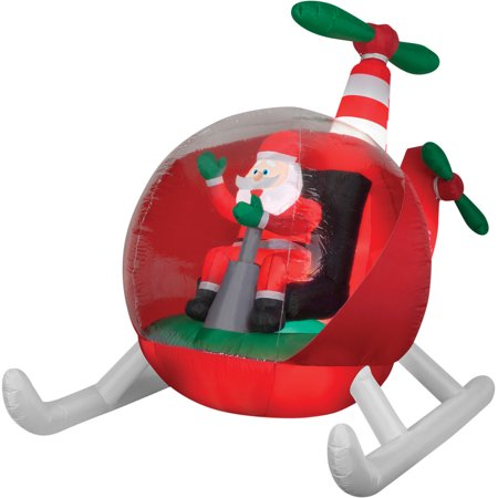 Helicopter Santa Airblown Christmas Decoration](Santa Boots Decorations)