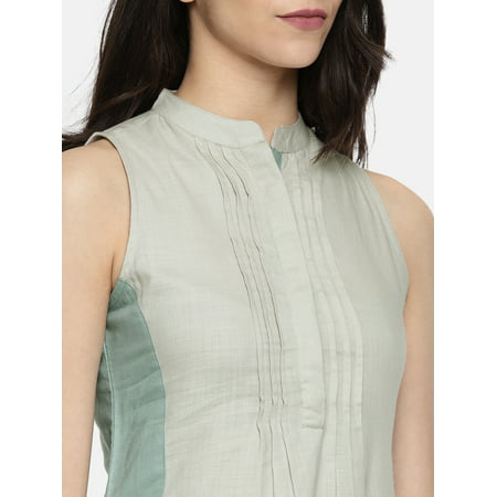 all about you from Deepika Padukone Women Grey Solid Straight Kurta - image 3 of 4