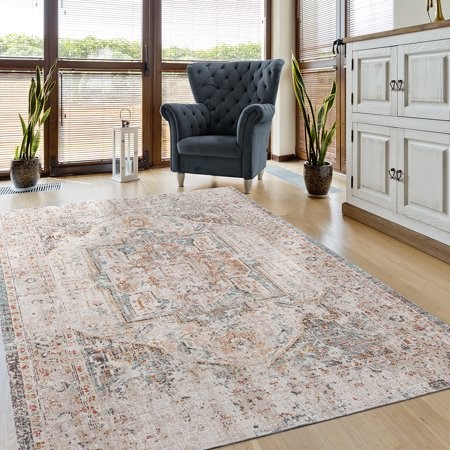 Hereke Turkish Rugs - LR Home Antiquity 5x7 Cream / Blush Transitional Distressed Border Faded Turkish Area Rug