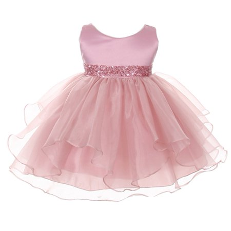 Chic Baby Girls Dusty Rose Organza Embellished Waist Flower Girl Dress