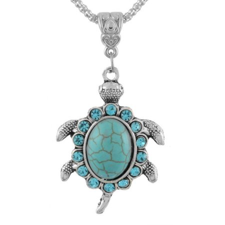 Silver Tone Turtle (Turtle Necklace Anti-Tarnish Antique Silver Tone Blue Crystal Tortoise Jewelry, J-393-N )