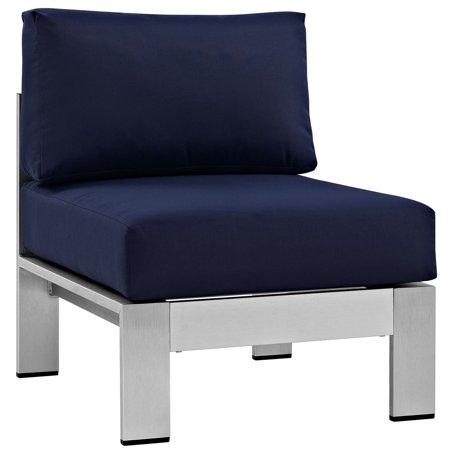Modern Contemporary Urban Design Outdoor Patio Balcony Lounge Chair, Navy Blue, Metal Aluminum ()