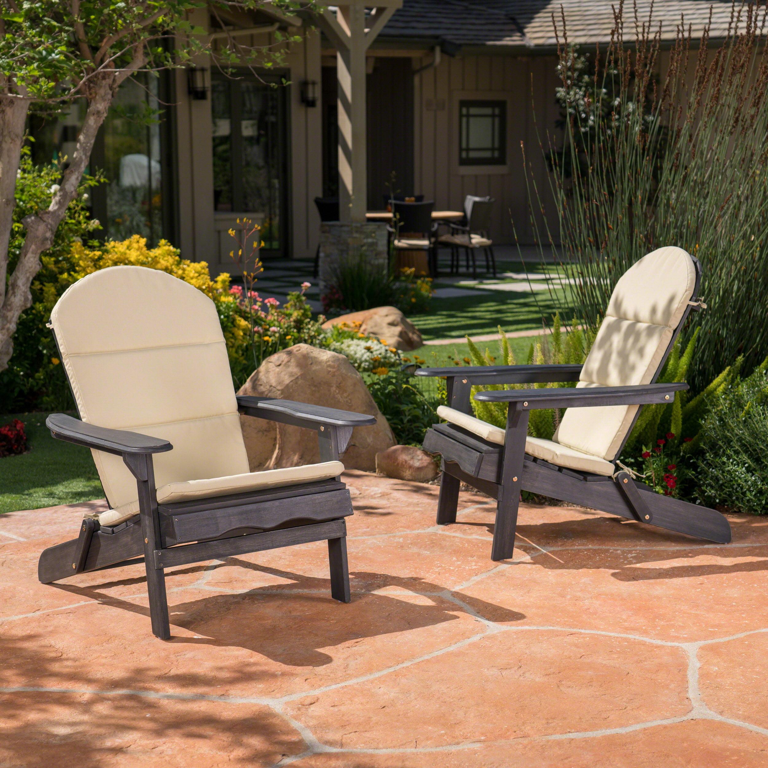Ariel Outdoor Acacia Wood Adirondack Chairs with Cushions, Set of 2, Dark Grey, Khaki