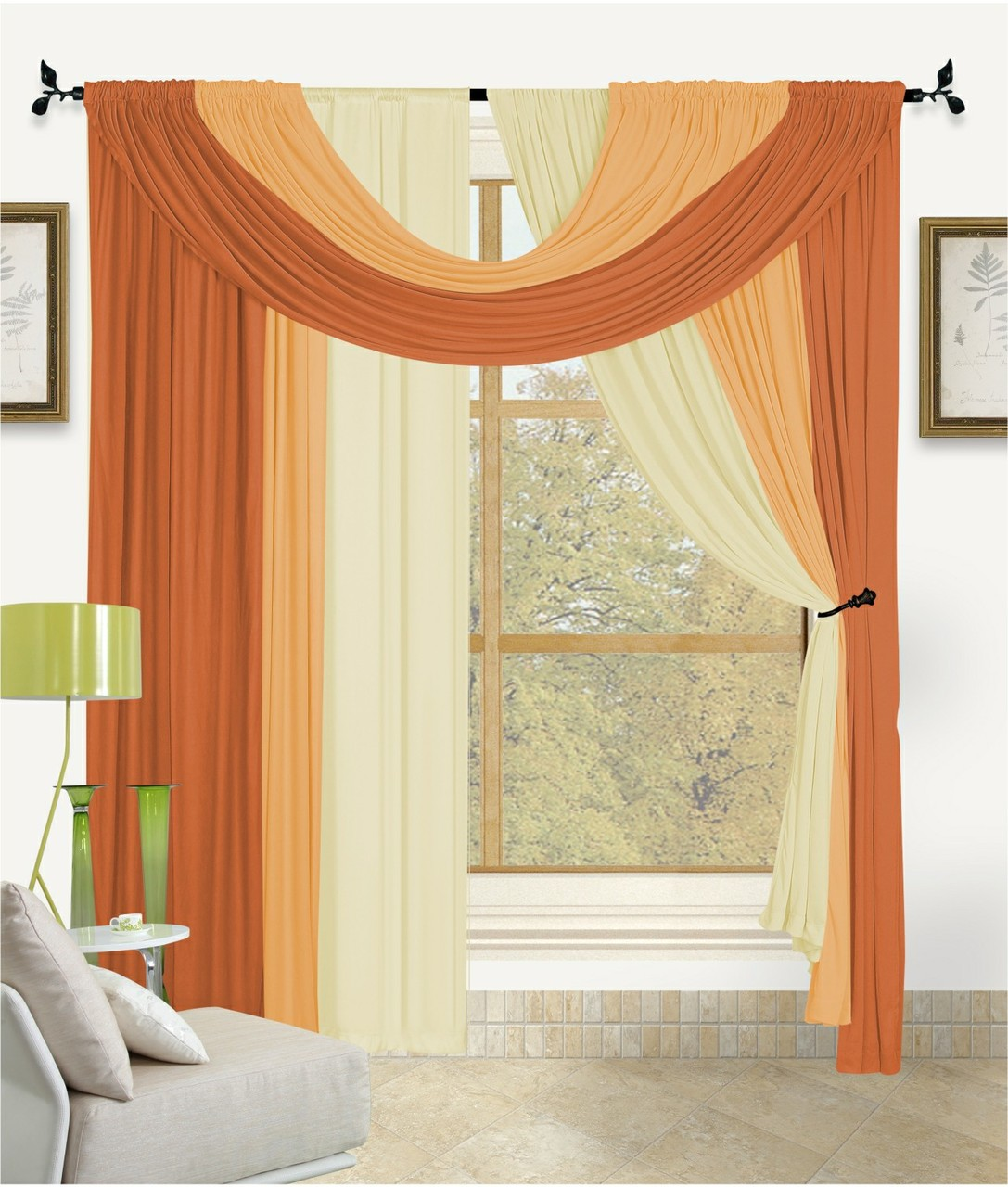 Bella 4 Piece Complete Window Treatment in A Bag Set, 2 Panels, Small Scarf, Large Scarf Solid Color (Orange) by Kashi Home