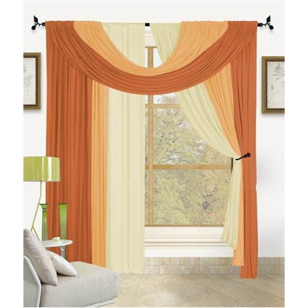 Image of Bella 4 Piece Complete Window Treatment in A Bag Set, 2 Panels, Small Scarf, Large Scarf Solid Color (Orange)