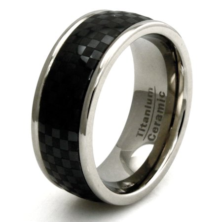 Titanium Black Carbon Fiber Ceramic Inlay Wedding Band Ring